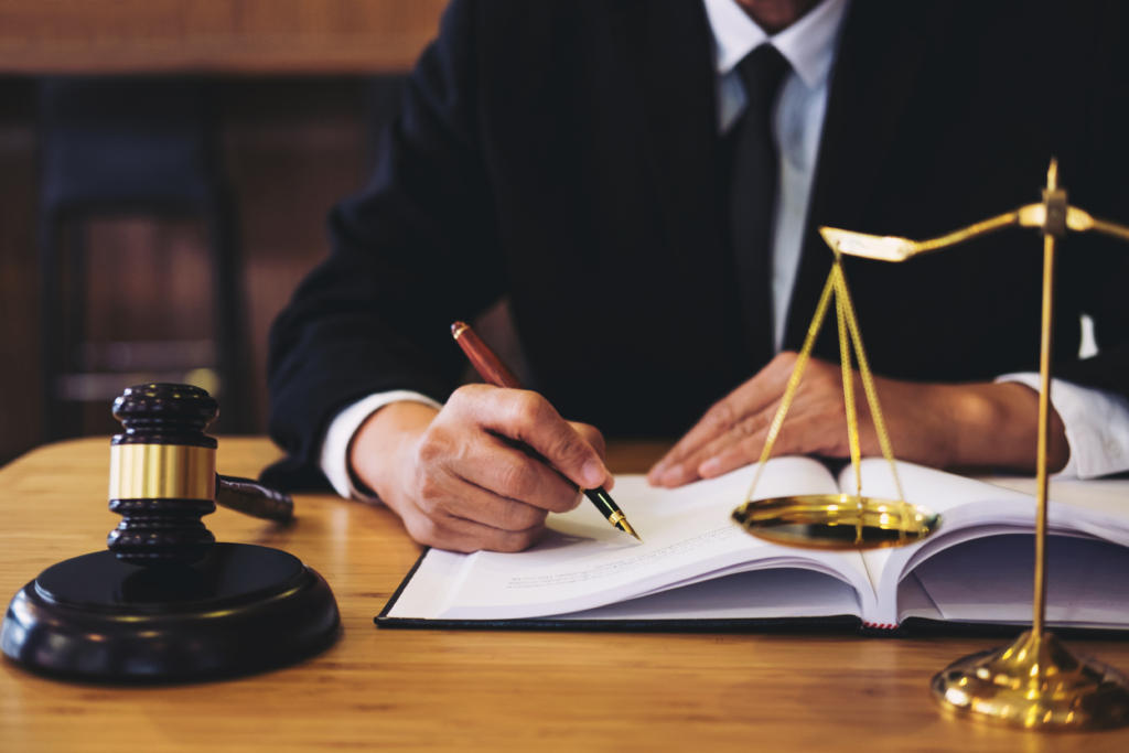 lawyer working on a documents