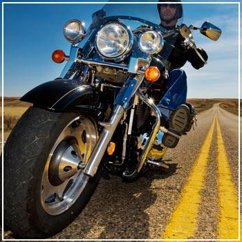 Man taking a motorcycle road trip