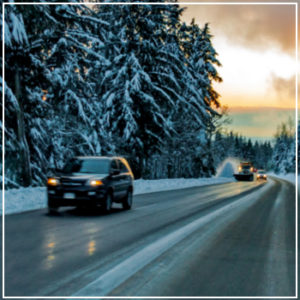 cars traveling on icy roads