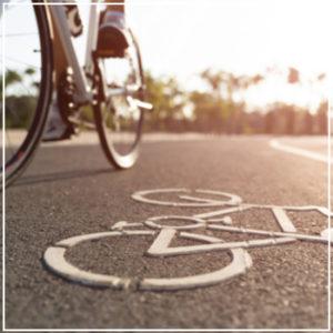 rider in bicycle lane